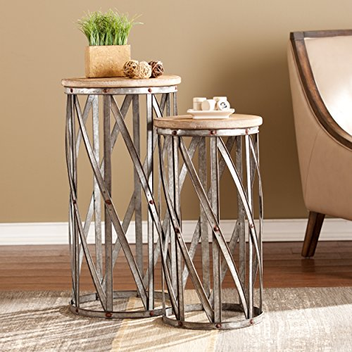 (Mencino Industrial Accent Tables - 2 pc set - Rustic Antique Silver Finish w/ Weathered Fir)