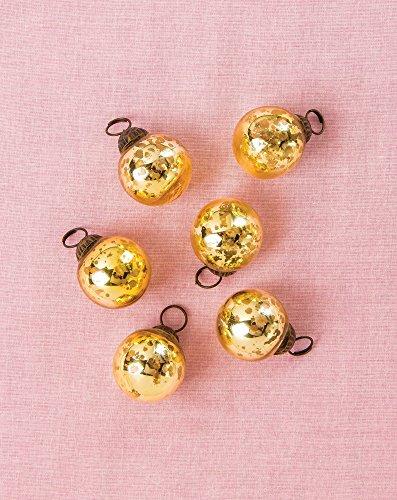 Cultural Intrigue Luna Bazaar Mini Mercury Glass Ornaments (Ava Classic Ball Design, 1-1.5 Inches, Gold, Set of 6) - Vintage-Style Mercury Glass Christmas Ornaments ()