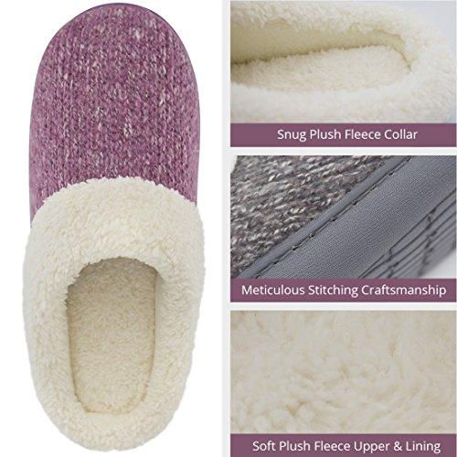 Womens Cozy Woolen Yarn Knitted Slippers Memory Foam Plush Lining Slip-on House Shoes w/ Anti-Slip Sole, Indoor/Outdoor Purple