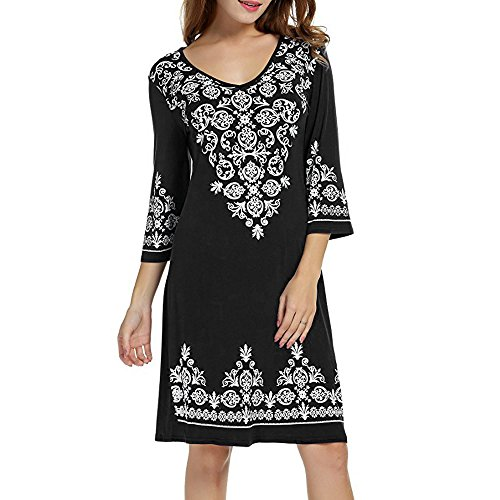 (【MOHOLL】 Womens Casual 3/4 Sleeve Scoop Neck Heart Embroidered Dress Black)