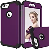 Maxcury iPhone 6 Plus Case iPhone 6s Plus Case, Hybrid Heavy Duty Shockproof Full-Body Protective Case with Three Layer Impact Protection for Apple iPhone 6s Plus 5.5 inch - Purple and Black