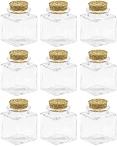 50ml Square Cork Stoppers Glass Bottles And Glass Favor Jars With Cork Lids (6)