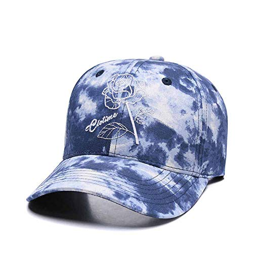 Quanhaigou Graffiti Sky Blue White Adjustable Baseball Cap,Rose Embroidered Dad Mom Caps Unisex Hip Hop Snapback Flat Bill Hat