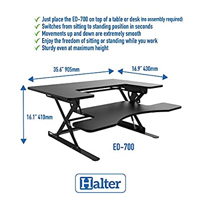 Halter ED-600 Preassembled Height Adjustable Desk Sit/Stand Elevating Desktop