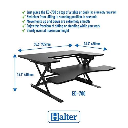 Halter ED-700 Preassembled Height Adjustable Desk Sit/Stand Elevating Tabletop Desktop – Updated Model 2018 – Black …