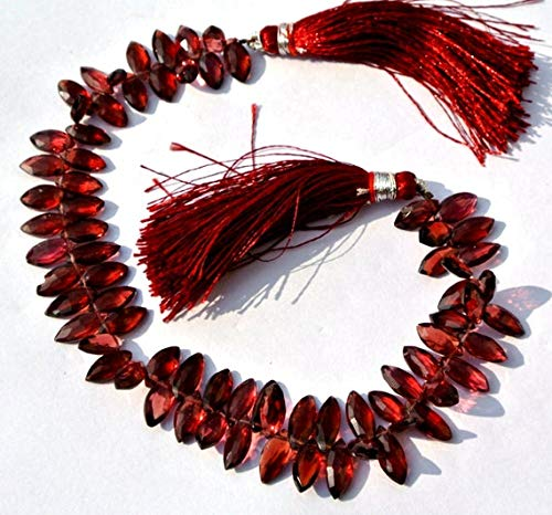 GemAbyss Beads Gemstone 8 Inch Long Long 5x10 mm Natural Red Pyrope Garnet Micro Faceted Marquise Briolette Code-MVG-42236