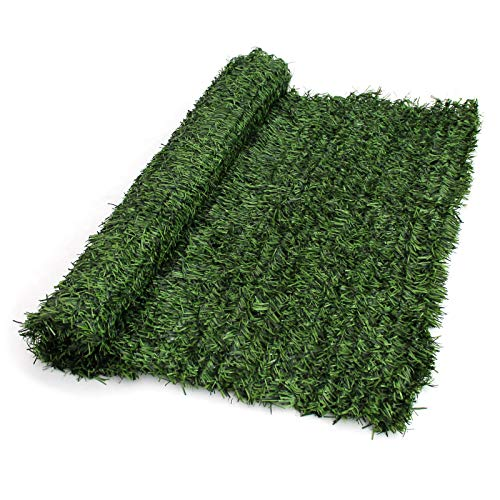 True Products Evergreen Artificial Conifer Hedge Plastic Privacy Screening Garden Fence 1m High x 3m Long, Green (Best Garden Screening For Privacy)