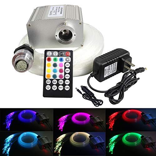 AZIMOM 10W Twinkle RGBW LED Fiber Optic Star Ceiling Light Kit + Music Control RF 28 Key Remote, 150pcs 6.5ft 0.75mm Optic Fiber Lighting for Car & Interior Decoration -