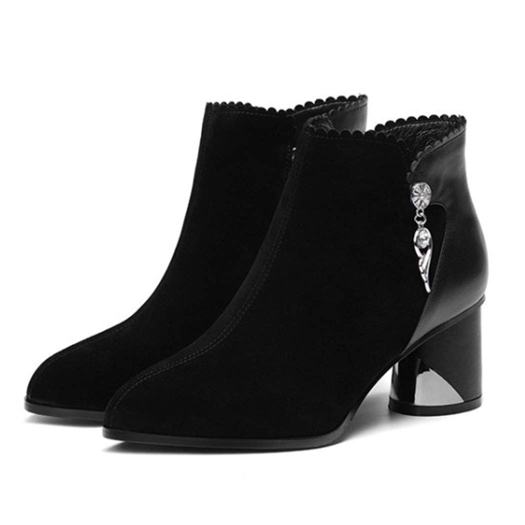 RLYAY RLYAY RLYAY Botas Martin De Las Mujeres Otoño E Invierno Más Terciopelo Caliente Botas De Tobillo De Moda Zapatos De Tacón Alto Negro,Blackplusvelvet,38EU b103f6