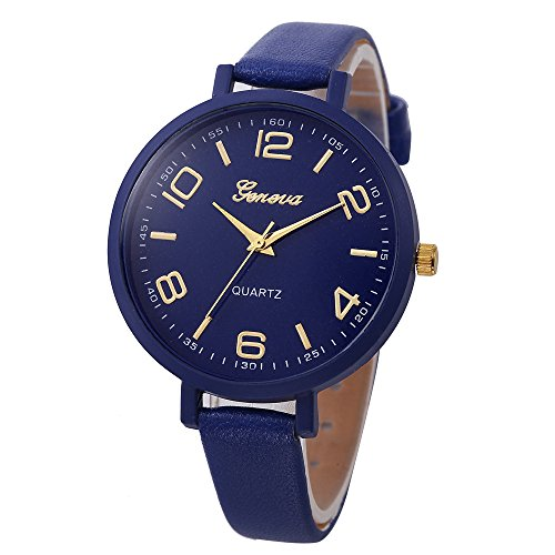 NXDA Wrist watch ladies casual leather strap quartz sports analog watch clear and easy to read Arabic numerals time watch (Dark Blue)