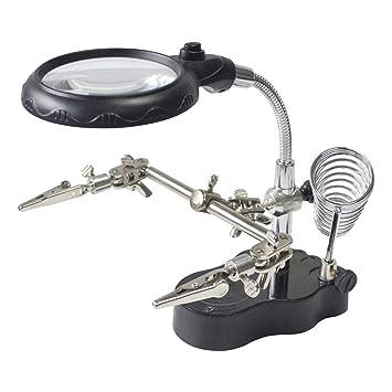 Tubayia 3 X/12 X Lupa de mesa con luz LED, clip de cocodrilo para soldar herramientas de reparación: Amazon.es: Oficina y papelería