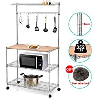 Yaheetech 4 Tier Rolling Chrome Bakers Rack Microwave Stand Kitchen Cart Storage Shelves Coffee Workstation Space Saving