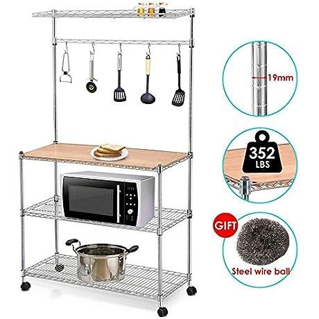 Yaheetech 4 Tier Rolling Chrome Baker S Rack Shelf Microwave Stand Kitchen Cart Storage Shelves Workstation On Wheels