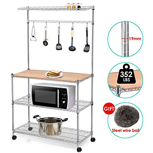 Yaheetech 4 Tier Rolling Chrome Baker s Rack Microwave Stand Kitchen Cart Storage Shelves Coffee Workstation Space Saving