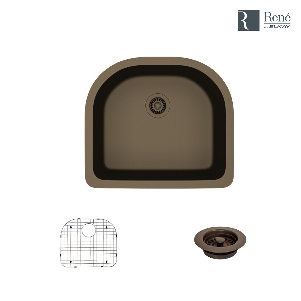 R3-1005-UMB-ST-CGF Umber D-Bowl Quartz Kitchen Sink with Grid and Matching Colored Flange