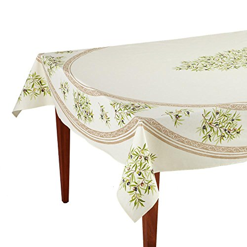 Occitan Imports Clos des Oliviers Ecru Rectangular French Tablecloth, Coated Cotton, 63 x 98 (6-8 people)