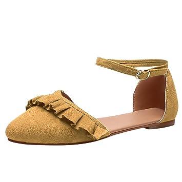 06e0fdb582 Makefortune-Schuhe Mode Damenschuhe Faux Wildleder Knöchelriemen D'Orsay  Spitz Ballerinas Wide Fit Sandalen