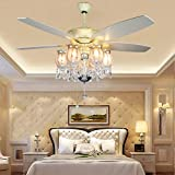 decorating dining room Akronfire Crystal Ceiling Fan with 5 Reversible Acrylic Blades Modern ceiling light Remote Control Mute Fan for Decorating Living Room Dining Room 52 Inch (Chrome)