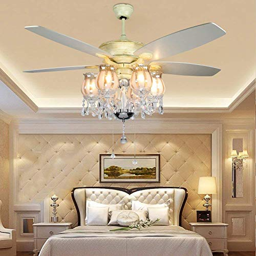 Akronfire Crystal Ceiling Fan with 5 Reversible Acrylic Blades Modern ceiling light Remote Control Mute Fan for Decorating Living Room Dining Room 52 Inch (Chrome)