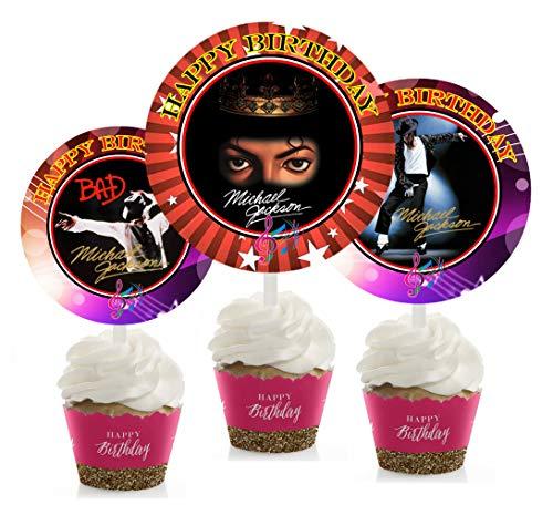 12 MICHAEL JACKSON ANNIVERSARY Birthday Inspired Party Picks, Cupcake Picks, Cupcake Toppers #1 -