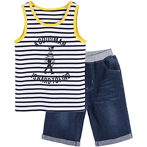Boys Cotton Vest Set Multi-Color Variety Summer Casual Suit for Kids 5-17Years (Yellow Pinstripe, 12years)