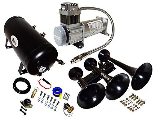 Viking Horns V103C-6-12//311-1B Super Loud 170 Decibels Black 3 Trumpet Train Air Horn System With 200 PSI Air Compressor and 5 Gallon Air Tank
