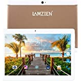 LAMZIEN 10.1 Inch Tablet 3G Android Phablet Dual Sim Card Quad Core CPU 1GB+16GB DDR3 1280×800 720P IPS Display Dual Camera Support 2G/3G WiFi Bluetooth GPS, Gold