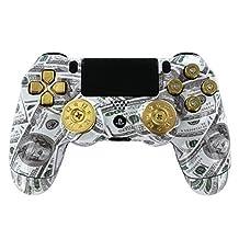 """Money Bullets"" Ps4 Custom UN-MODDED Controller Real Shot Gun Thumbsticks and 9mm Bullet Buttons Exclusive Design"