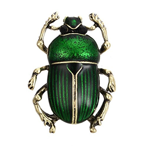 Enamel Beetle Brooches for Women Cute Fashion Bug Brooch Pin Blue Color New Arrival 2018 Jewelry Gift (Green)