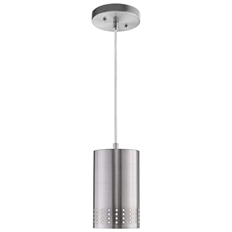 new concept 92e37 984a5 LANROS Adjustable Mini Pendant Light, Modern Hanging Lights with Perforated  Cylindrical Metal Shade for Kitchen Island, Living Room, Brushed Nickel ...