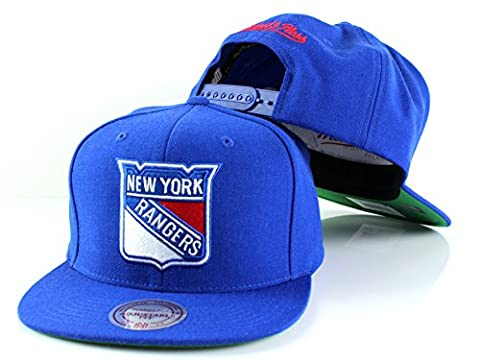 NHL Mitchell & Ness Vintage Wool Solid Snapback Hat (Adjustable, New York Rangers)
