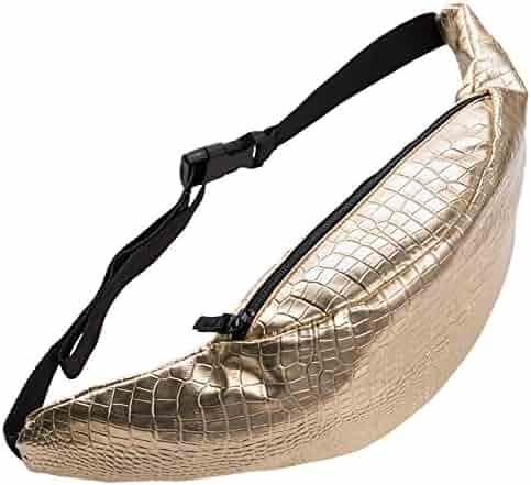 Doris Boutique us - PU Leather Fanny Pack Waist Pack Hiking Pack Bike Pack Gold Bag