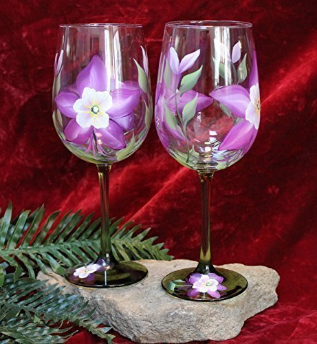 Painted Stem (Hand Painted Wine Glasses - Colorado Columbine on Green Stems (Set of 2))