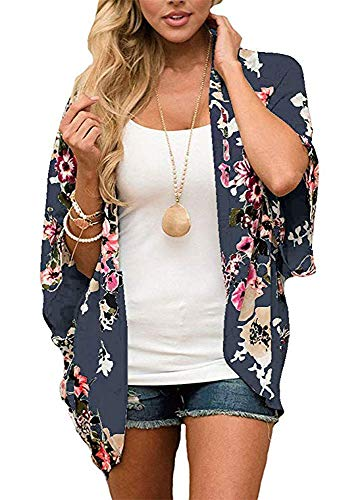 Women's Floral Print Puff Sleeve Kimono Cardigan Loose Cover Up Casual Blouse Tops (Deep Blue, S)
