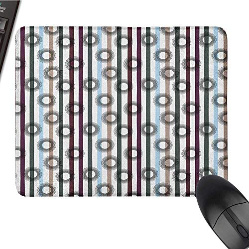 (Personalized Mouse pad Abstract,Geometric Vertical Stripes Pattern with Many Colors and Bullseye Shaped Circles, Multicolor Gaming Mouse pad 9.8 x11.8)
