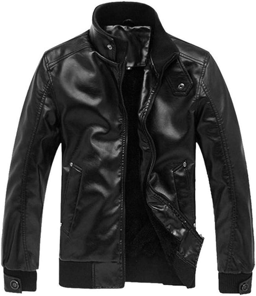 Loeay Chaqueta de Cuero de imitación Casual para Hombre Primavera Otoño Vintage Chaquetas de Bombardero marrón desgastadas Biker Motocicleta Cremallera Abrigo Outwear