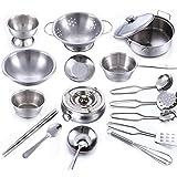Cookware Set, Wolfbush 18Pcs Stainless Steel Kitchenware Cookware Kitchen Utensils Children Kids Simulation Cooking Games Playset Cookware Set - Silver
