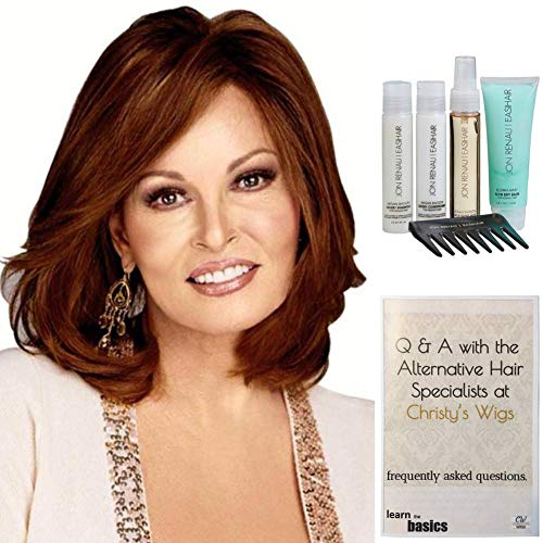 (Bundle - 7 items: Beguile by Raquel Welch Human Hair Wig, 15 Page Christy's Wigs Q & A Booklet, Luxury Shampoo & Conditioner, Heat Treat Thermal Spray, Smooth Treatment Mist, & Wide Tooth Comb (Color Selected: ) Color Selected: R829S)