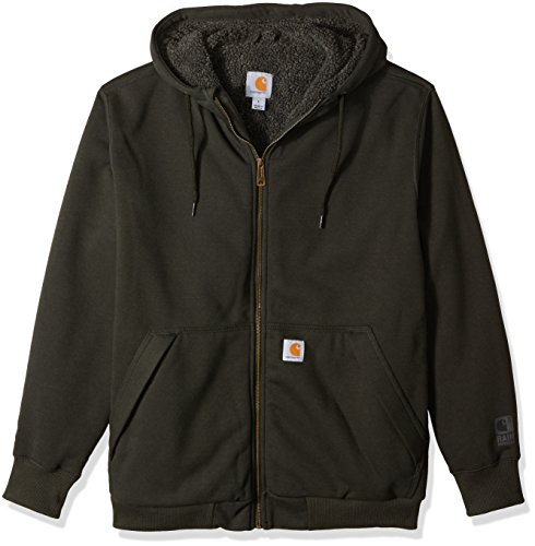 Carhartt Men's Rain Defender Rockland Sherpa Lined Hooded Sweatshirt, peat, Large ()