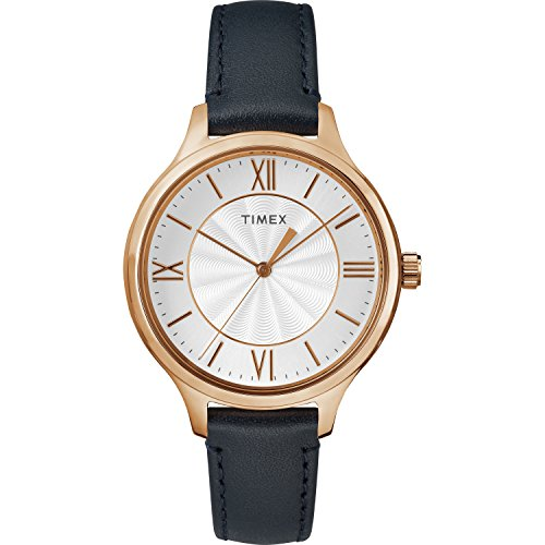 (Timex Women's TW2R82300 Peyton Blue/Rose Gold-Tone Leather Strap Watch)