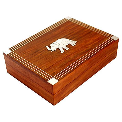 (Indian Glance Double Deck Playing Card Holder Wood Box Case Tray - Playing Cards Holder Deck Wooden Card Box)