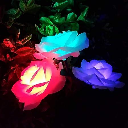Douup Paquete De 3 Luces Solares con 9 Flores De Rosas, Luces De Juego De Jardín Solares, Juego De Luces Decorativas para Jardín, Patio, Patio Trasero: Amazon.es: Hogar