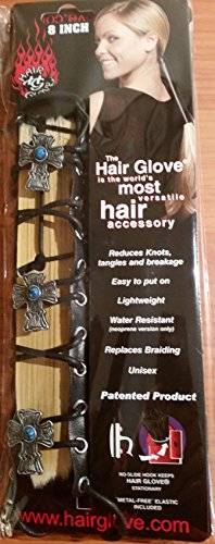 """Hair Glove 8"""" Vintage Cross W/ Turquoise Stone Lace Up Black Leather Tail Holder 31852"""