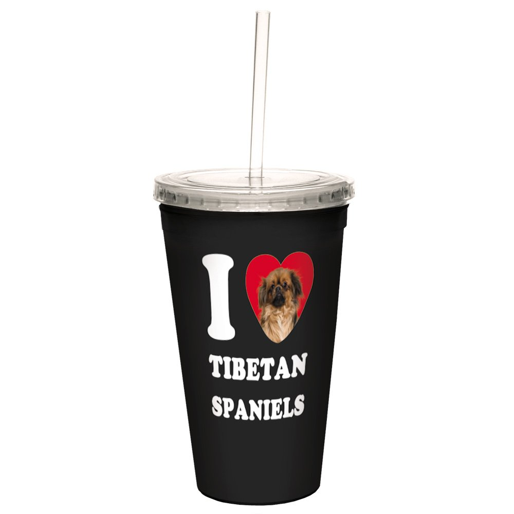 16-Ounce Tree-Free Greetings CC35131 I Heart Tibetan Spaniels Artful Traveler Double-Walled Cool Cup with Reusable Straw
