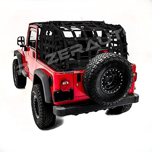 (Razer Auto 2 Door Model Only Black Cargo Restraint Net System Trail Cargo Net (Black) for 97-06 Jeep Wrangler TJ )
