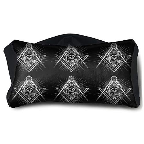 ROCKSKY Eye Mask Pillow for Headaches Sleeping - Freemasonry Freemason Logos Black Eye Mask Pillow, Washable Elastic Sleep Eye Mask Pillow Eyeshade 2 in 1 Travel Neck Pillow & Eye Mask