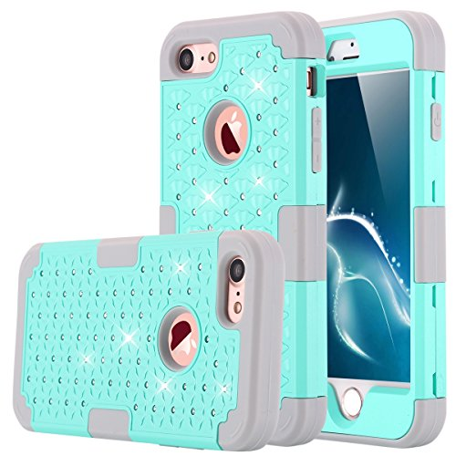 iPhone 7 Case, LONTECT Hybrid Heavy Duty Shockproof Diamond Studded Bling Rhinestone Case with Dual Layer [Hard PC+ Soft Silicone] Impact Protection for Apple iPhone 7 - Teal/Grey