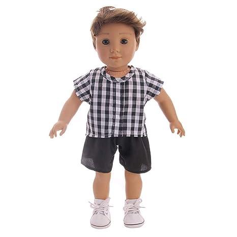 Amazon.com Gbell 18 Inch Doll Grid Stripe Clothes T,Shirt
