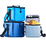 Set of 3 Insulated Lunch Boxes for Women and Men - Soft Cooler Bags for Adults and Kids - Portable Thermal Cute Tote Bag Family Pack for Boys and Girls