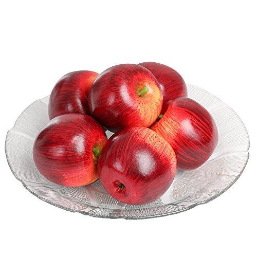 SENREAL 6 pcs Artificial Apple Fake Apple Lifelike Fruit Decorative for Home Kitchen Party Pub Cabinet Ornament - -